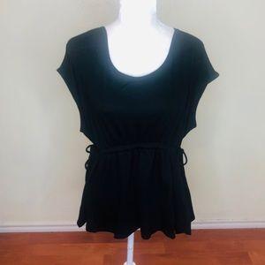 Bobeau Black Short Sleeve Tunic Top